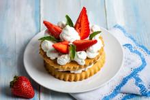 Strawberry Dessert With Sweet Cream