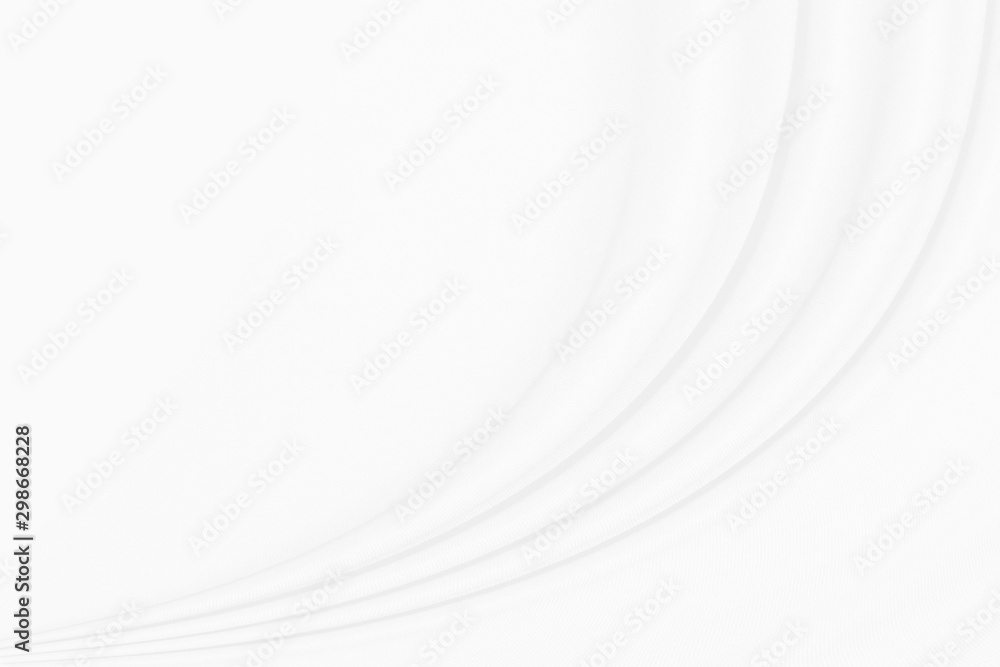 White cloth background with soft waves.