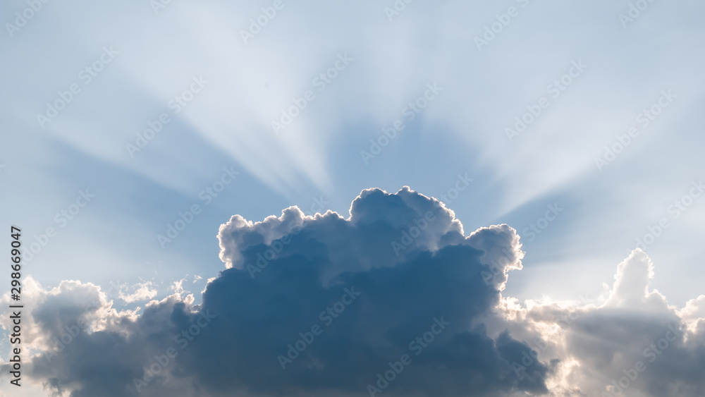Fototapety, obrazy: sky and sun-rays behind clouds