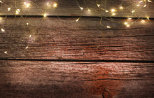 Christmas Light On Wood Backgr...