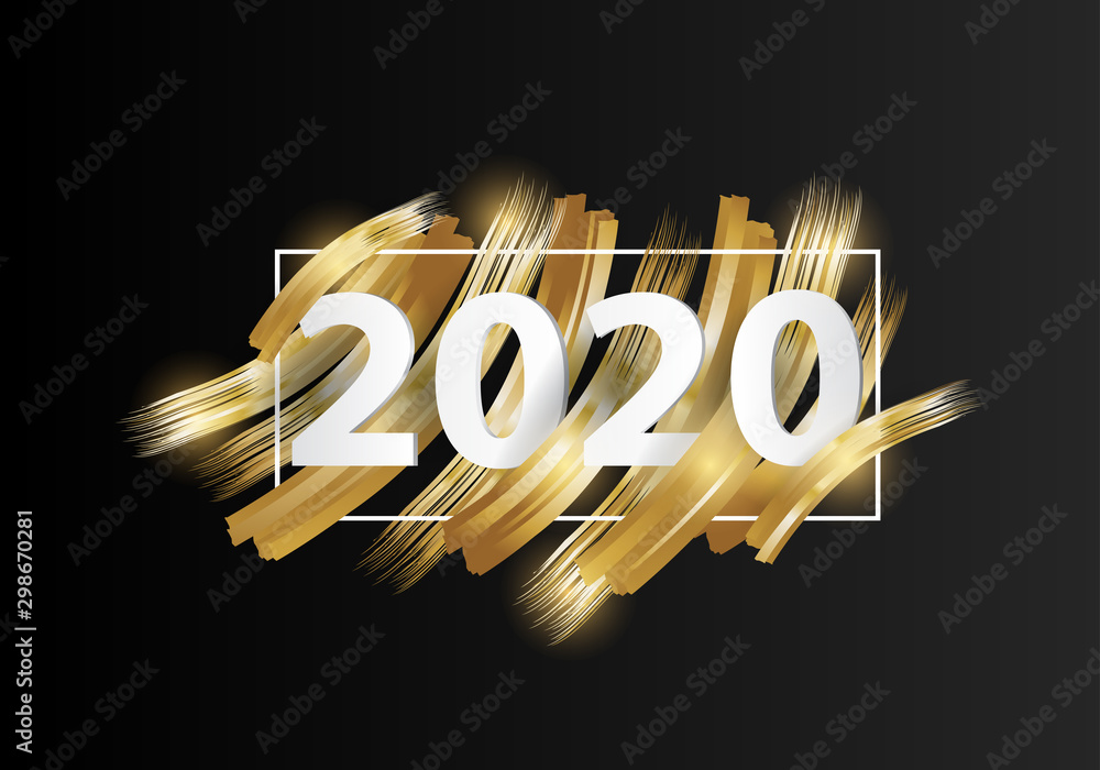 Fototapety, obrazy: happy new year 2020. 2020 Year on the background imitation of a golden brushstroke