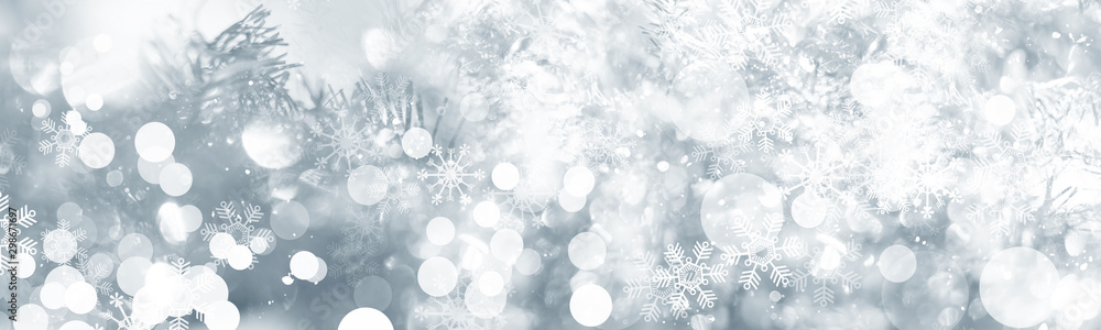 Fototapety, obrazy: white and gray Christmas light with snowflake bokeh background, Winter backdrop wallpaper.