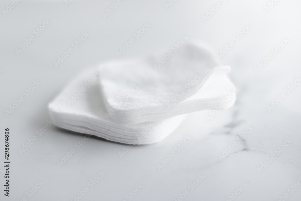 Fototapety, obrazy: Organic cotton pads on marble background, cosmetics and make-up remover, hygiene and skincare beauty brand product for healthcare and medical design