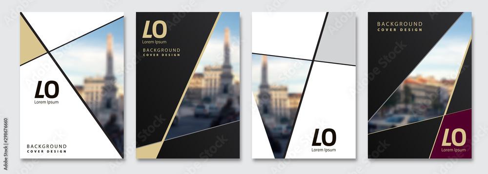 Fototapeta Vector cover design. Flyer, presentation, brochure layout. Banner, modernist poster design. City blur background.