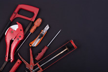 Hand Tools On A Black Backgrou...
