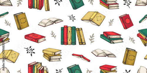 Carta da parati Doodle books pattern