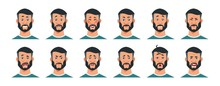 Man Expressions. Cartoon Character With Happy Surprised Angry Sad Tired And Other Emotions. Facial Expressions Vector Illustrated Unhappy Joy And Upset Man Set