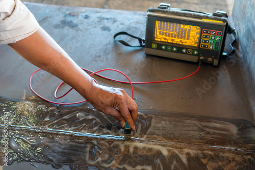 Photo  Step to Non-Destructive Testing(NDT) of welding with process Ultrasonic testing (UT)