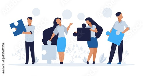 Business teamwork concept. Cartoon people with puzzle elements, teamwork collaboration and people connection vector illustration. Corporate work office connecting together team for promotion company
