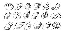 Sketch Wings Pair. Hand Drawn ...