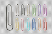 Realistic Colorful Paper Clip Set. Metal Fasteners Notebook Holders. Vector Illustrations Colors Steel Paperclip For Organizing Work Process