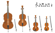 Set Of Vector Modern Flat Design Stringed Musical Instruments
