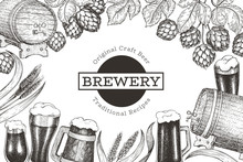 Beer And Hop Design Template. ...
