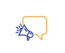 Advertisement Device Symbol. Megaphone Line Icon. Brand Ambassador Speech Bubble Sign. Colorful Outline Concept. Blue And Orange Thin Line Megaphone Icon. Vector