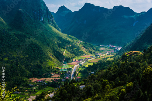 Foto auf Leinwand Blaue Nacht Lanscape view of Ha Giang province, Vietnam