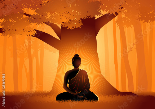 Photo Siddhartha Gautama enlightened under Bodhi tree