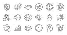 Core Values Line Icons. Integr...