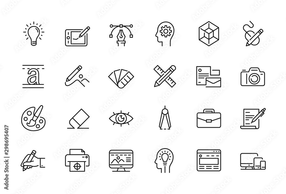 Fototapety, obrazy: Minimal Graphic Design related icon set