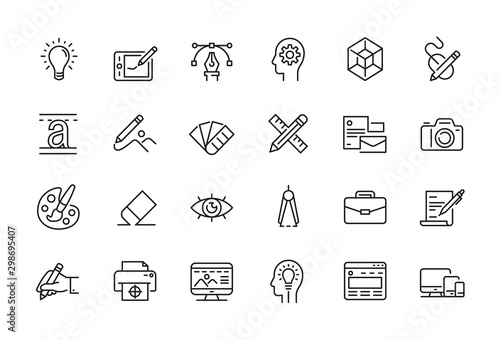 Obraz Minimal Graphic Design related icon set - fototapety do salonu