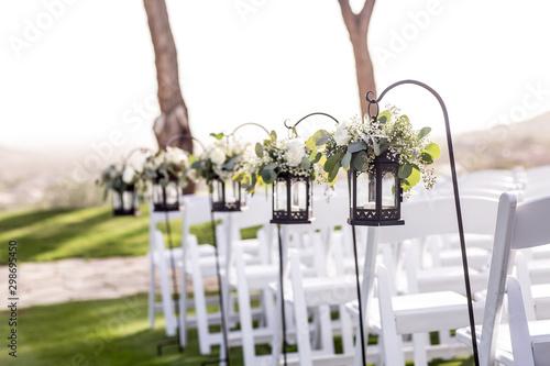 wedding aisle with hanging lanterns Canvas Print