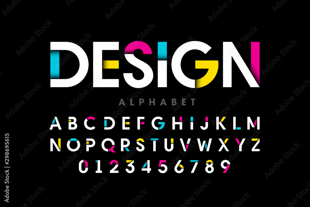 Fototapeta Modern bright colorful font, alphabet letters and numbers