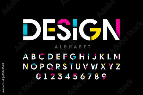 Photo Modern bright colorful font, alphabet letters and numbers