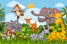 Cute Set Of Animals In Jungle Scene