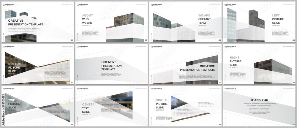 Fototapeta Presentations design, portfolio vector templates with architecture design. Abstract modern architectural background. Multipurpose template for presentation slide, flyer leaflet, brochure cover, report