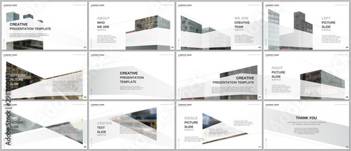 Presentations design, portfolio vector templates with architecture design. Abstract modern architectural background. Multipurpose template for presentation slide, flyer leaflet, brochure cover, report - fototapety na wymiar