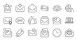 Mail message line icons. Newsletter, E-mail, Correspondence. Communication linear icon set. Quality line set. Vector