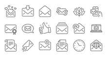 Mail Message Line Icons. Newsl...