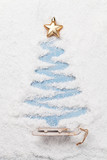 Christmas greeting card with fir tree shape