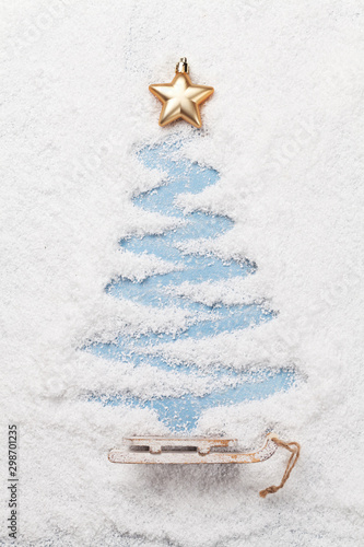 Christmas greeting card with fir tree shape - 298701235