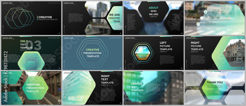 Fotomural  Minimal presentations design, portfolio vector templates with hexagonal design green color pattern background