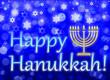Leinwanddruck Bild - jewish holiday Hanukkah greeting card - traditional Hanukkah symbols - menorah with nine branches, star of David, illustration on blue, with the inscription Happy Hanukkah