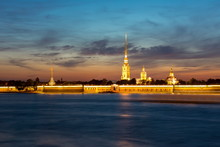 Peter And Paul Fortress At White Night, St. Petersburg, Russia
