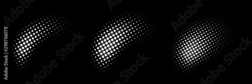 Fotomural  Set of halftone dots curved gradient pattern texture isolated on white background
