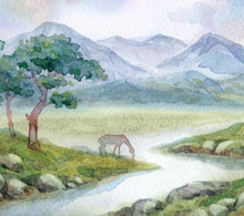 Watercolor Landscape. A Horse ...
