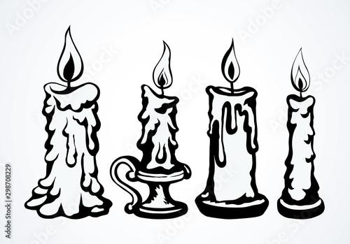 Stampa su Tela Candle. Vector drawing