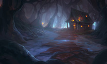 Dark Forest, Burning House Illustration Background Cover