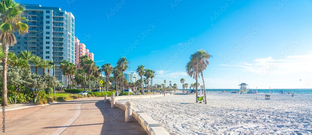 Fototapeta Clearwater beach with beautiful white sand in Florida USA
