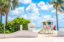 Lifeguard Tower In South Beach In Fort Lauderdale Florida, USA