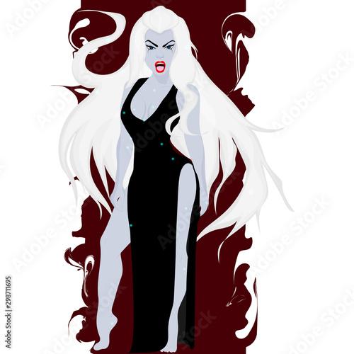 Photo Banshee. Girl in a black dress. Girl screaming evil. Vector art