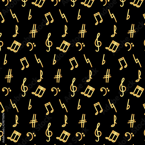 Fotografie, Obraz  Golden notes and musical signs on a black background