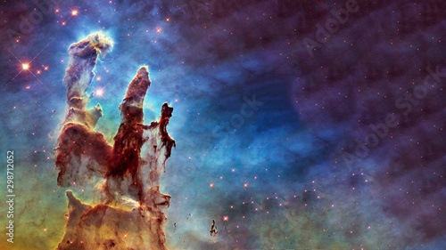 Somewhere in deep space. Carina Nebula star birth. Science fiction wallpaper. Elements of this image were furnished by NASA. - 298712052