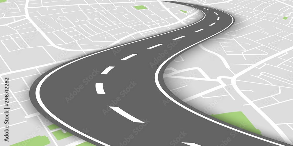Fototapety, obrazy: Curved perspective road above city map