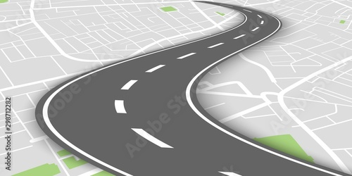 Fotomural  Curved perspective road above city map