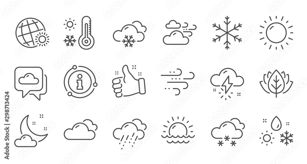 Fototapeta Weather and forecast line icons. Cloudy sky, winter snowflake, thermometer. Moon night, rain and sunset icons. Weather temperature, meteorology forecast. Linear set. Quality line set. Vector