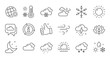 Weather and forecast line icons. Cloudy sky, winter snowflake, thermometer. Moon night, rain and sunset icons. Weather temperature, meteorology forecast. Linear set. Quality line set. Vector