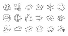 Weather And Forecast Line Icon...